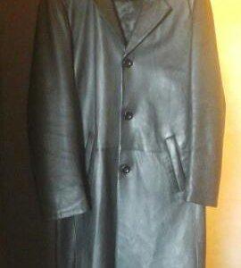 Кожанное пальто 46-48 бу