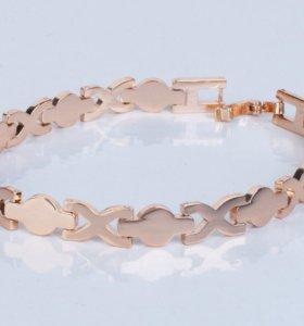 Женский браслет бижутерия под золото