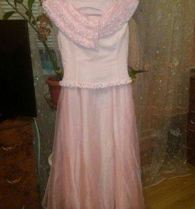 Праздничный наряд (платье-костюм) нежно розового ц