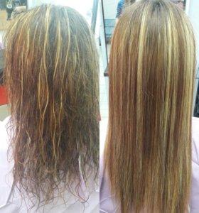 Керотиновое выпрямление волос