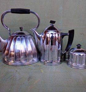 Латунный чайник, кофейник, сахарница