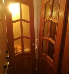 Дверь двухстворчатая -массив сосны остекленная