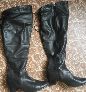 Ботфорты кожаные черные сапоги полные икры