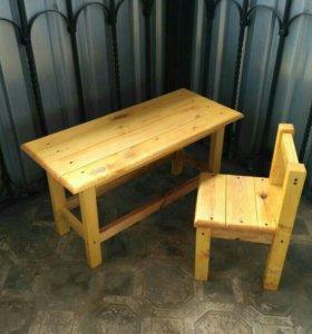 Детские столы, стулья, лавочки, качели.