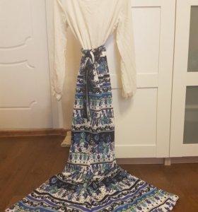 Шикарное длинное платье рыбка Золотой песок