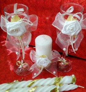 Набор свадебных аксессуаров(фужеры,свечи)