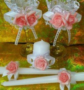 Свадебный набор (фужеры,свечи)