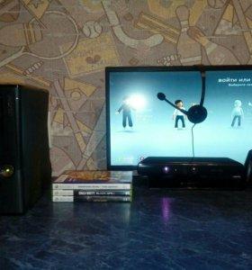 Xbox 360 250GB + Kinect + гарнитура + 4 игры