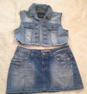 Джинсовая юбка и жилетка