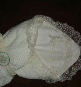 Вязанный конверт-одеяло Lapetti косичка+ подарок