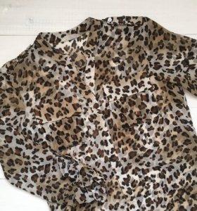 Шифоновая леопардовая блузка