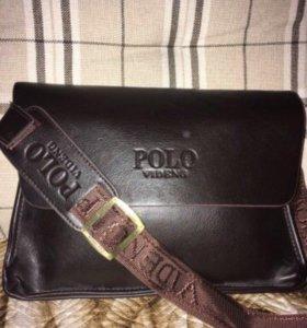 Сумка-портфель через плечо кожаная Polo Videng