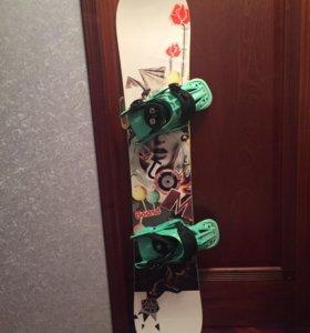 Сноуборд ( крепления+ботинки )