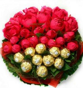 Букеты, цветы из конфет (сладкий букет)