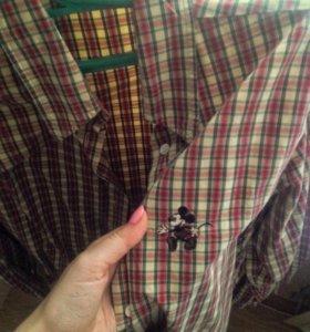 Рубашка в клетку с мики маусом