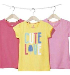 Набор футболок для девочки 3шт Lupilu. Новые.