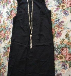 Женское классическое чёрное платье 👗 без рукавов