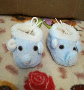 Тёплые пинетки-слоники