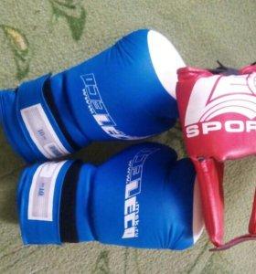 Перчатки и члем для бокса
