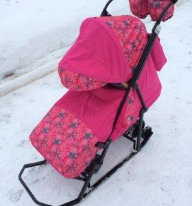 Санки-коляска Зимняя сказка Люкс