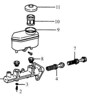 Тормозной цилиндр ( главный ) Toyota corolla 110