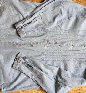 Рубашка женская, джинсовая