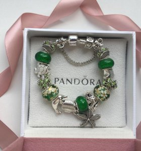 Браслет pandora в морском стиле зеленый