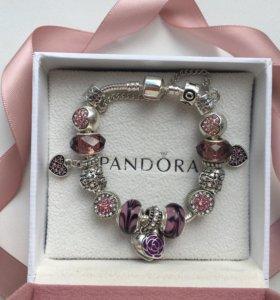 Розовый браслет pandora