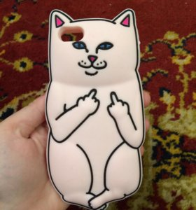 Чехол на айфон 5/5s/SE розовая кошка с факами