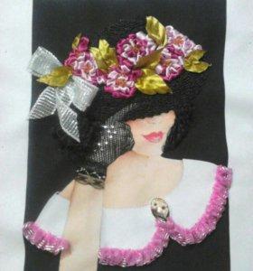 Цветы. Дама в шляпе