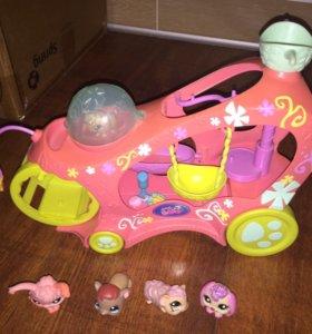 Little Pet Shop Машина, 5 зверей и аксессуары