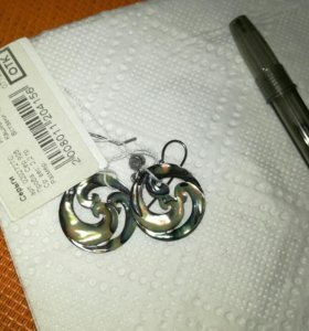 Серьги серебро,ракушка .новые.