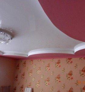 Натяжные потолки двухуровневые метр кв под ключ 🔑