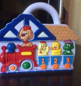 Музыкальная игрушка паровоз звери счёт животные
