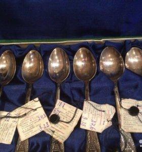 Набор чайных ложек СССР серебро 875