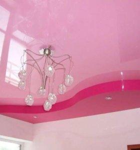 Натяжные потолки двухуровневые розовые оттенки