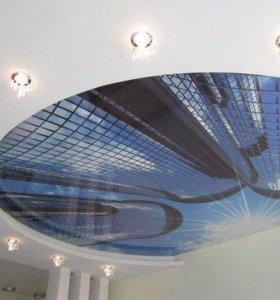 Натяжные потолки город 3D в кругу