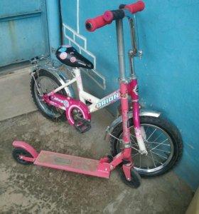 Велосипед ORION и самокат с 5 лет и старше