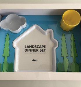 Детский набор посуды landscape dinner set, новый