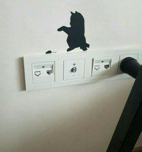 Наклейка кот и мышь