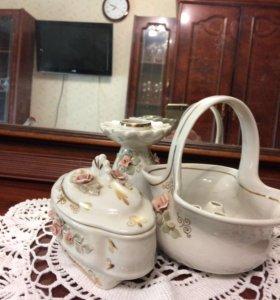 Шкатулка, подстаканник для цветов и подсвечник
