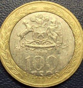 Монета Чили, 100 песо Биметалл