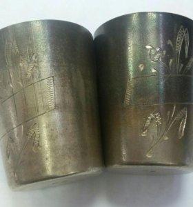 Пара серебряных стопок 875(60гр)