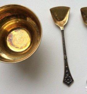 Антикварная солонка с ложечкой, серебро 875 проба