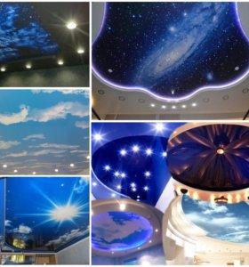 Натяжные потолки облака 3D