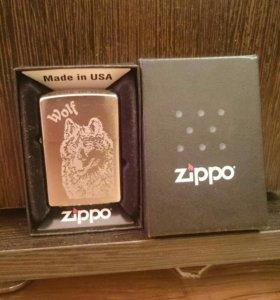 Zippo +бензин+2 кременя+фитиль+кожаный чехол