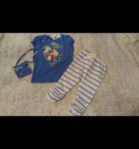 Комплект футболка, штанишки и сумочка:) 👚👖👜😊