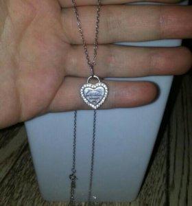 Цепочка с кулоном Tiffany серебро