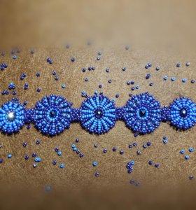 Браслет из бисера синий