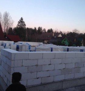 Строим  дом газоблок куб 1500 укладка